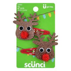 Scunci Holiday Reindeer Hair Snap Clips, 2-Count